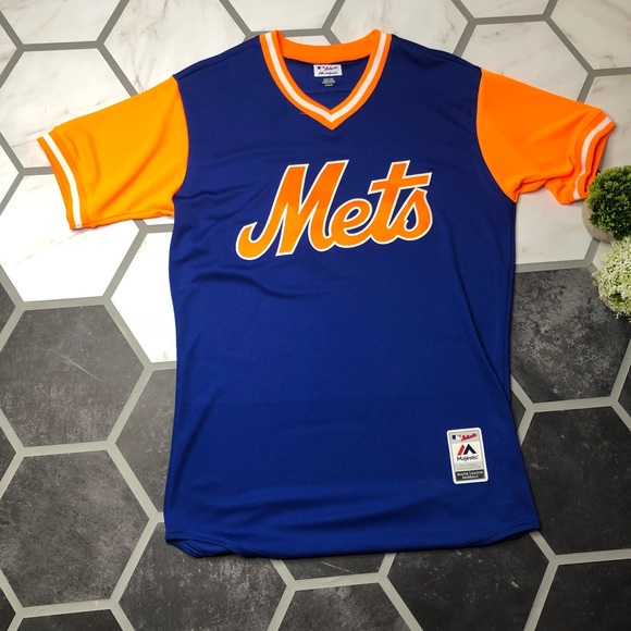 brand new 340c1 721ae Mets jersey blue and orange V-neck blank back